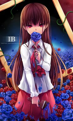 Why does Ib look scary?  What if she actually pushed Garry and Mary through but didn't rip the petals off her rose. So then she starts to paint because she's lonely and makes friends with the other things. That she paints blue roses everywhere because she misses Garry...or maybe somehow, somehow she's painting blue roses because Garry is dead (it's THAT ending)...
