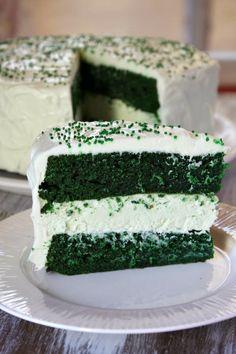 Green Velvet Cheesecake Cake For St.Patricks day :)