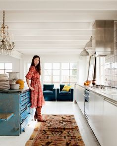 Blue island in the kitchen