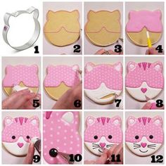 Check out the blog post for a step-by-step guide and video for this PURR-fect cat face cookie! How to Decorate a Cat Face Cookie