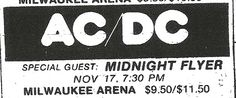 1981/11/17 - USA, Milwaukee, County Arena | Highway To ACDC : le site francophone sur AC/DC