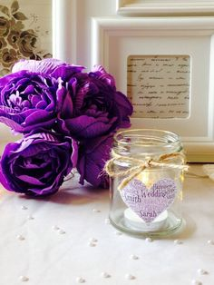 Candle In A Jar Personalised Gift - Wedding Decor - Favours