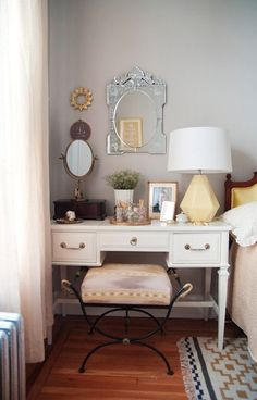 Vanity as Bedside Table Extra storage doubling as a bedside table