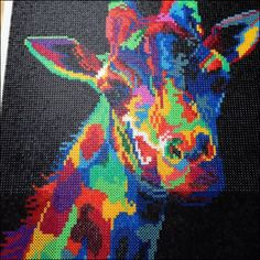 Colorful giraffe hama perler bead art by Janne Gerner: Hama Beads Design, Diy Perler Beads, Pearler Bead Patterns, Perler Patterns, Cross Stitch Art, Cross Stitch Animals, Pixel Art, Pony Bead Crafts, Peler Beads