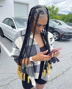 40 easy, cute & trendy braided hairstyles for black women perfect for summer. Cute Box Braids Hairstyles, Quick Braided Hairstyles, Box Braids Hairstyles For Black Women, Braids Hairstyles Pictures, Black Girl Braids, Baddie Hairstyles, Braids For Black Hair, Girls Braids, Weave Hairstyles