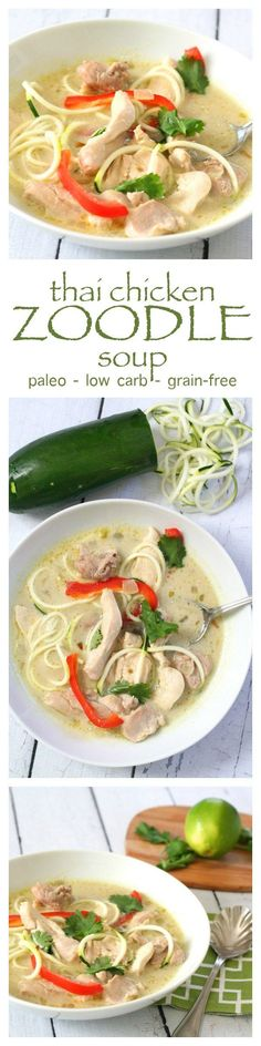 Paleo Thai Chicken Zoodle Soup Keto comfort food at its finest. This Thai Chicken Soup with Zucchini Noodles is low carb, paleo, and dairy-free. Not to mention healthy! Healthy Recipes, Asian Recipes, Low Carb Recipes, Whole Food Recipes, Soup Recipes, Chicken Recipes, Cooking Recipes, Healthy Soup, Paleo Soup