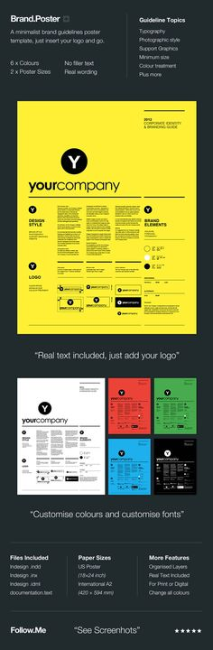 A minimalist brand guidelines poster template, no filler text, comes with real wording so just insert your logo and go. Provided in two paper sizes including US Poster and International A2.