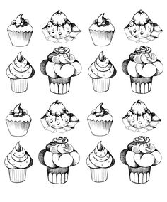 Free coloring page coloring-adult-cupcakes-oldstyle. Cupcakes beautifully designed for an adult very greedy coloring ... and appetizing !