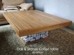 Oak & stones coffee table. Custom work. Made by Derva.