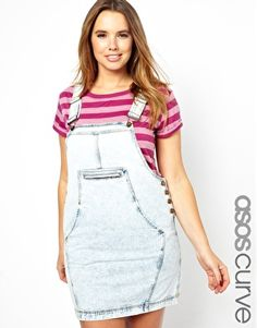 ASOS CURVE Denim Dungaree Dress In Acid Wash...this brings back memories of pre teen awkward years!