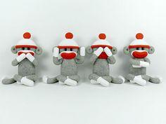 Four Wise Sock Monkeys See No Evil Speak No by PeeWeesClayHouse, $34.00