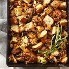 Fans of sweet stuffing will fawn over this fruit-filled recipe. A bounty of dried apricots, figs, cherries, and plums tastes so rich alongside chunks of challah bread and crispy chopped walnuts.