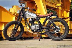 Designer and maker of custom motorcycle. Honda Xl 125, Yamaha 125, Honda Cb, Honda Motorcycles, Vintage Motorcycles, Street Tracker, Motorcycle Clubs, Scrambler, Custom Bikes