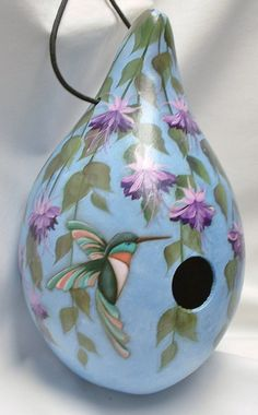 Hummingbird with Fuchsia Flowers Gourd Birdhouse by FromGramsHouse