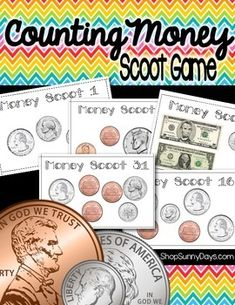 Scoot+is+faced+paced,+whole+group+activity.+It+can+be+used+as+a+fun review,+practice,+assessment+of+prior+knowledge+or+test.+Play+it once+and+it+will+quickly+become+a+classroom+favorite!  Topics+covered+include: Counting+coins,+one+and+five+dollar+bills.