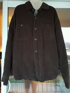 Chaps Corduroy Shirt Jacket Brown Button Outerwear  Fleece Lined Mens Large | Clothing, Shoes & Accessories, Men's Clothing, Coats & Jackets | eBay!