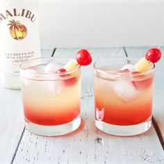 Delicious and refreshing Malibu sunset cocktail. This delicious drinks offers a sweet blend of coconut rum, pineapple, and sweet grenadine.