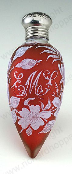 1907 STOURBRIDGE CASED CRANBERRY CAMEO CARVED GLASS SCENT PERFUME BOTTLE, PROBABLY WEBB.