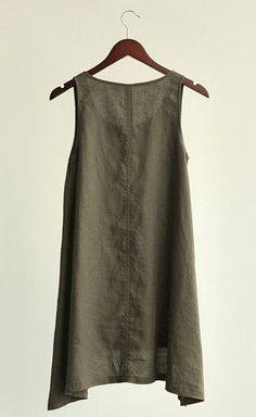 Green shirt linen shirt blouse undies Spring Summer Autumn. $68.50, via Etsy.