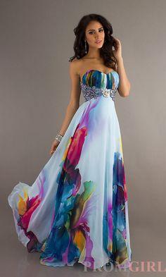 Long Strapless Print Evening Gown Abiti Da Sera 88160f9d20b
