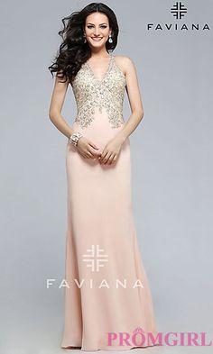 V-neck Soft Peach Prom Dress by Faviana at PromGirl.com