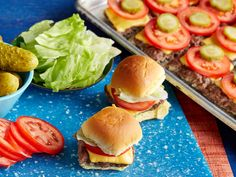 Beef Sliders for a Crowd Recipe : Food Network. Bake several patties on a baking sheet to save time.