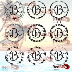 Arrow Circle Feather Monogram Frame Set 05 - SVG Cut File, DXF, Png, Eps, Pdf, Ai, Cricut, Silhouette Studio, Instant Download by RedFoxDesignShop on Etsy