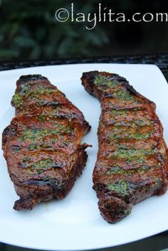 achiote and beer marinated grilled steaks with jalapeno cilantro salsa