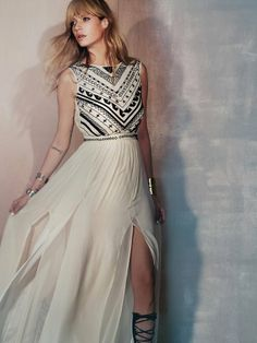 1054 Bl/Ne  Free People Beaded Silk Chiffon Gown on shopstyle.co.uk