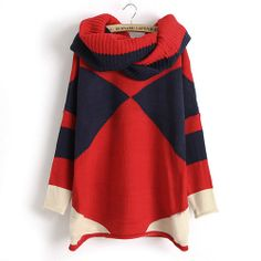 Price:$32.99  Color: Red Material: Wool Pop Style Triangle Mixing Color Knit Sweater with Scarf