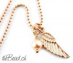 Halskette mit FLÜGEL Anhänger & Perle, 925 Silber rose-vergoldet // wing neclace in 925 sterling silver rosegold plated