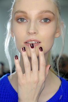 Oxblood red nails  Morgan Taylor for Kenneth Cole 2014 Fall Show
