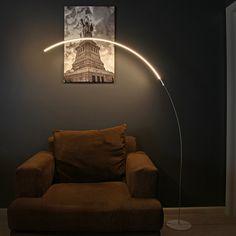 Brightech - Sparq LED Arc Floor Lamp - Curved, Contemporary Minimalist Lighting Design - Warm White Light - Silver