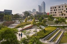 Bonifacio Global City Retail Center, Makati City, Philippines. AECOM's landscape architects in the San Francisco office completed planning, design, and engineering services for the project. The design called for removal of several city streets to allow for an enlarged pedestrian zone complete with water features, seating, and park spaces.