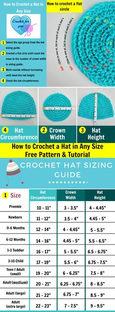 to Crochet Basic Hat in Any Size - free pattern & tutorial How to crochet a hat in any size - free pattern and tutorial at Crochet For You.How to crochet a hat in any size - free pattern and tutorial at Crochet For You. Crochet Hat Sizing, Bonnet Crochet, Crochet Chart, Knit Crochet, Crochet Baby Hats Free Pattern, Crocheted Hats, Crotchet Hat Patterns, Baby Hat Crochet, Crochet Stitches Free