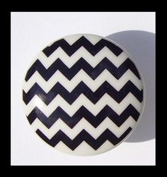 1 BLACK ZIG ZAG Chevron Print   Dresser Drawer Knob on white knob via Etsy Dresser Drawers, Inspiration, Chevron Print, Zig Zag, Interior Design, Chevron, Dresser Drawer Pulls, Etsy