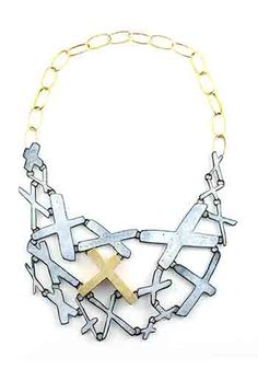 Kat Cole: White X Marks Necklace, Steel, enamel, and brass.