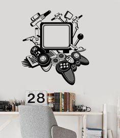 Vinyl Decal Gaming Decor Video Game Playroom Teen Room Joystick Wall Stickers (ig2946)