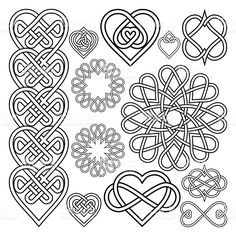 Set Hearts Intertwined in Celtic Knot. Twelve Items - buy this vector on Shutterstock & find other images. Celtic Quilt, Viking Symbols, Viking Runes, Mayan Symbols, Egyptian Symbols, Ancient Symbols, Celtic Heart Knot, Celtic Knots, Celtic Knot Tattoo