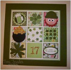 Toni Tessler (tonistamps) Independent Stampin Up Demonstrator. St. Patrick's Day Framed Art.  Stampin Up.  Mossy Meadow, Pistachio Pudding, All Abloom Designer series stack.