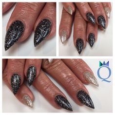 #short #stilettonails #acrylicnails #nails #black #beige #glitter #kurze #stilettonägel #acrylnägel #nägel #schwarz #beige #glitzer #nagelstudio #möhlin #nailqueen_janine