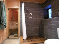 Contemporary Bathrooms from Katarina Andersson on HGTV. Downstairs spa idea for shower\/sauna combo. Shower Panels, Top Bathroom Design, Sauna Shower, Bathroom Spa, Modern Bathroom, Spa Inspired Bathroom, Spa Like Bathroom, Bathroom Decor, Gray Shower Tile