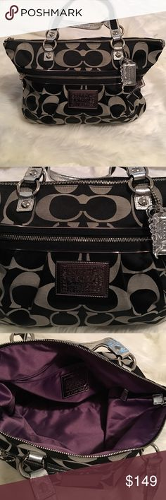 Coach Poppy | Large Monogram Tote Like new, excellent condition! Poppy series. No flaws! Black & silver with silver hardware. Interior lining is gorgeous purple. No stains! One large exterior zip pocket. Interior has one zip pocket, two slip pockets. Let me know if you have any questions! Bundle to save & happy Poshing! Coach Bags Totes
