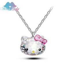 Crystal Cute Hello Kitty Cat Necklaces & Pendants Fashion Jewelry For Women