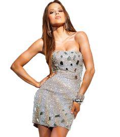 Strapless mirrored applique dress