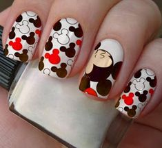 Red black and white nails Glamour Nails, Classy Nails, Fancy Nails, Trendy Nails, Disneyland Nails, Disney Nails, Minnie Mouse Nails, Black And White Nail Designs, Beauty Hacks Nails