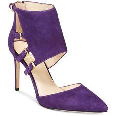 Nine West Trustme Buckle Pumps ($98) ❤ liked on Polyvore featuring shoes, pumps, purple, dark purple suede, purple suede pumps, nine west, dark purple pumps, suede leather shoes and nine west pumps