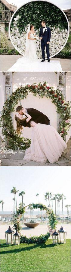 Top 20 Pretty Circular Wedding Arches for 2018 Trends - Page 3 of 3 - EmmaLovesWeddings Peacock Wedding Flowers, Church Wedding Flowers, Arch Wedding, Mod Wedding, Dream Wedding, Engagement Dresses, Wedding Dresses, Burgundy Wedding, Arches
