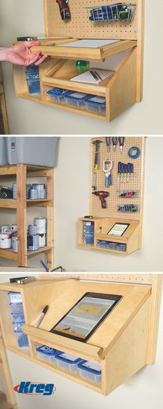 Awesome Garage Workshop Design Ideas and Organization of Your Dreams – BosiDOLOT Storage Center, Tool Storage, Garage Storage, Craft Storage, Storage Ideas, Fridge Storage, Diy Garage, Office Storage, Storage Shelves