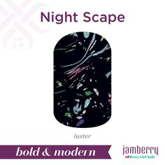 Take to the stars with 'Night Scape'. Featuring a twinkling blue-black sky, 'Night Scape' is perfect for an evening stargazing. #NightScapeJN #black #pink #blue #green #silver #luster #nailwraps #spring #boldandmodern #jamberry #berrygirlnails